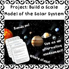 This interactive, hands-on project will allow your pre-Algebra students to demonstrate their mastery of scientific notation, scale conversions, and various measurements.  It is an interdisciplinary unit incorporating research aspects (Language Arts) and the solar system (Space Science).