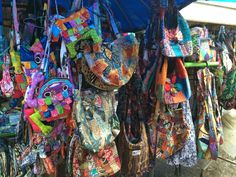 Creative Canvass: Colors of Ubud. Handbags in the marketplace