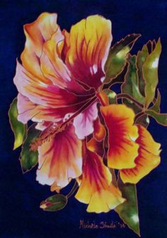 My painting on silk of a beautiful hibiscus. 2014 Michele Shute