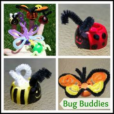 Finger Puppets Bug Insect Crafts for Kids! Love this idea!!!Been looking for a way to upcycle these lids!!!