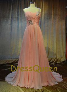Long pink prom dresses,chiffon prom dress, pink floor length beadsf evening dresses,dress for wedding