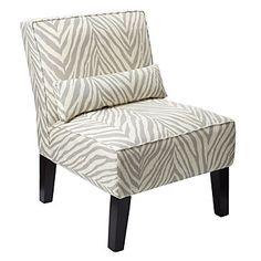 Z Gallerie armless grey/white zebra chair