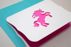 Pink Unicorn Card with Scalloped Edge, Custom Message Available. $10.00, via Etsy.