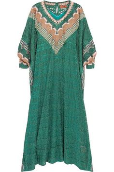 Missoni - Metallic Crochet-knit Kaftan - Green