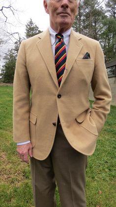 BB Camelhair 3/2 roll sack sport coat, BB OCBD, LW repp tie, Sam Hober PS, AE Brown belt, O'Connell's Barley trousers, BB striped socks, AE Shelton Saddle shoes.