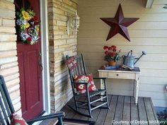 small charming porch with rocking chairs