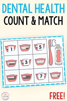 A free printable dental health theme counting activity for preschool and kindergarten. This fun math activity is perfect for your math centers. #preschool #kindergarten #mathcenters Math Activities For Kids, Health Activities, Counting Activities, Preschool Activities, Space Activities, Preschool Printables, Dental Health Month, Health Unit, Free Dental