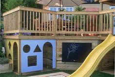 Under deck landscaping, landscaping ideas, backyard ideas, outdoor play are Low Deck, Under Deck Landscaping, Landscaping Ideas, Pergola Ideas, Decking Ideas, Deck Design, Landscape Design, Under Deck Storage, Deck Skirting