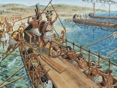 """Mycenaean warriors disembark their """"black ships"""", as described by Homer, in the… Mycenaean, Minoan, Historical Art, Historical Pictures, Greek History, Ancient History, Ancient Troy, Greco Persian Wars, Alexandre Le Grand"""