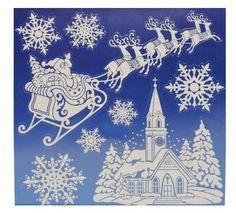 8 tlg. Set Fensterbild - Weihnachtsmann Schnee Weihnachten GLITTER Glitzer - Sticker Fenstersticker / Fensterbilder: Amazon.de: Spielzeug