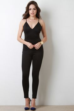 V-Neck Fitted Tank Jumpsuit
