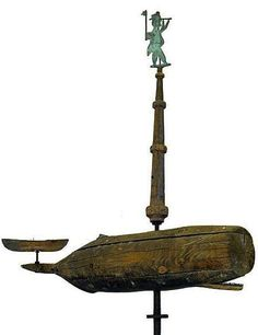 WHALE AND SEA CAPTAIN WEATHERVANE.