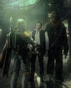 Boba Fett, Han Solo and Chewbacca Boba Fett Mandalorian, Star Wars Boba Fett, Jango Fett, Star Wars Pictures, Star Wars Images, Chasseur De Primes, Starwars, War Novels, Neue Tattoos