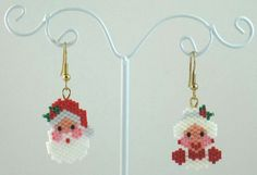 Mr. & Mrs. Claus Beaded Earrings - Christmas Jewelry