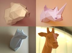 DIY Printable Paper Models Of A Bear, Giraffe, Wolf and Rhino - Make Your Own PDF Template - Foldable Papercraft by Poligonia on Etsy
