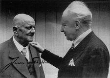 Finnish composer Jean Sibelius with conductor Leopold Stokowski.