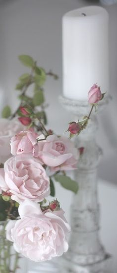 lovely pink flowers and candle