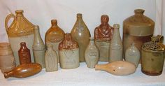 A mixed group of stoneware bottles ranging in date from the 1820s to the 1880s, and including bottles used for soda water, ale and spirits. On the right is a druggists flagon.