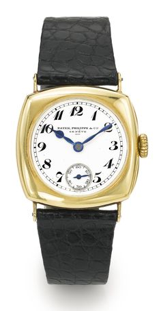 Patek Philippe A YELLOW GOLD CUSHION-FORM WRISTWATCH REF 8 MVT 808393 CASE 289706 MADE IN 1924
