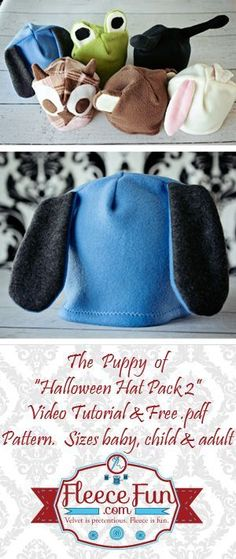 Easy DIY Fleece Puppy Hat pattern and tutorial. The perfect little hat for your little puppy. You can use this for a quick costume on Halloween night or for a fun hat your child can wear anytime. Get the free pattern here!