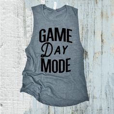 Game Day Mode Muscle Tank Top Football Tank Top Baseball Tank Gym Tank... (£19) ❤ liked on Polyvore featuring tops, red, tanks, women's clothing, muscle tank, blue tank top, blue top, blue tank and baseball tank tops