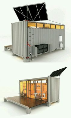 Tiny home~ shipping container. Solar panels can be repositioned in any direction and angle to catch maximum sunshine