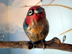 Newsy Recycled Art - Jen Schultes' Papier-Mache Birds & Art Bowls of Junk Mail & Old Newspaper (GALLERY)