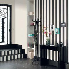 large rayure noir et blanc deco pinterest rayures noires rayures et papier peint. Black Bedroom Furniture Sets. Home Design Ideas