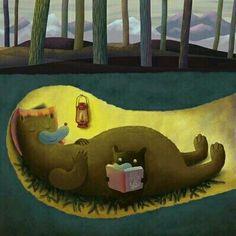Reading in Hibernation - for you, KM Nikko Barber Illustration Nikko, Time Art, Children's Book Illustration, I Love Books, Childrens Books, Book Art, Cute Animals, Art Prints, Reading