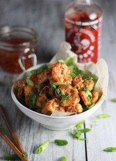 Skinny Bang Bang Shrimp with Homemade Sweet Chili Sauce via cookingforkeeps.com