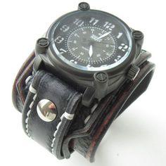 Handmade Leather Bracelet Watch Black   Brown by loversbracelets 38b27eb01a9