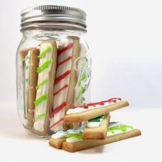 Christmas cookie sticks packaged in a mason jar.