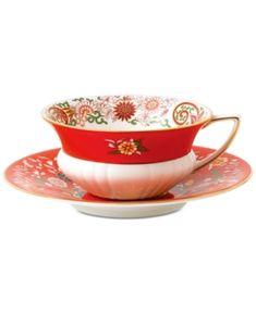 Wedgwood Wonderlust Crimson Orient Teacup & Saucer - Multi