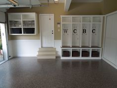 Lockers on Granite! Great way to organize the family