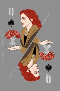 Game of thrones playing cards - queen of spades (catelyn stark) . #rouletterusserecords