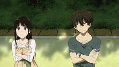 when Oreki takes glances at Chitanda >w