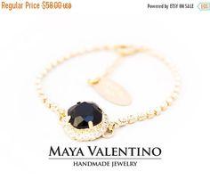 Swarovski bracelet 14K Gold Bracelet Black  Jet  by MayaValentino