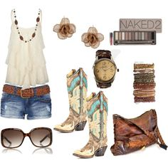 """""""Summer Cowgirl"""" by durhamfed on Polyvore I love, the look of colorful boots with cutoff shorts, with the right accessories it's totally city."""