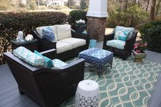 Love the rug pattern. Loving my HomeGoods rug and garden stool. Great finds. Happy first day of Spring!