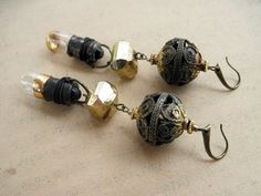 The Mystic. Victorian Tribal Assemblage earrings with Gold Leaf and Light bulbs.
