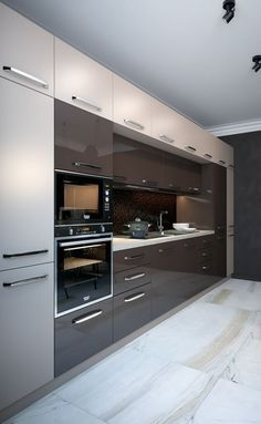 30 Fabulous Modern Kitchen Cabinet Design Ideas - Kitchen cabinets that hold and store pots, pans and other kitchen equipment have been the mainstay of any kitchen, throughout the ages. Kitchen Interior Design Modern, Kitchen Decor, Contemporary Kitchen Design, Contemporary Kitchen, Kitchen Modular, Modern Kitchen Cabinet Design, Kitchen Furniture Design, Kitchen Layout, Kitchen Design