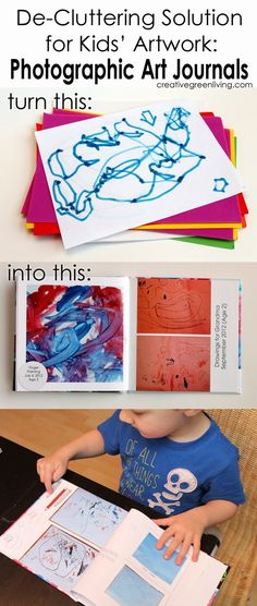 Are you drowning in children's artwork? Don't hold on to that stack of paper and supplies forever. Instead, photograph it and turn it into a handsome photographic art journal.