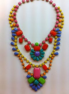 Hand Painted Neon Rhinestone Necklace by ELMELM on Etsy
