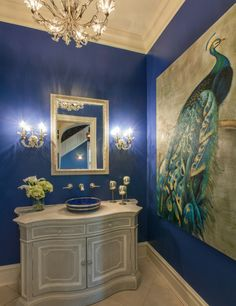 Looking for Bathroom and Powder Room ideas? Browse Bathroom and Powder Room images for decor, layout, furniture, and storage inspiration from HGTV. Decor, Peacock Bathroom, Bathroom Interior Design, Bath Pictures, Small Bathroom Pictures, Room Colors, Royal Blue Bathrooms, Blue Powder Rooms, Bathroom Decor