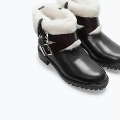 ZARA - NEW THIS WEEK - FUR LINED LEATHER ANKLE BOOT