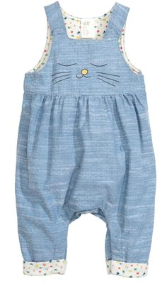 Bib overalls in soft, textured, woven organic cotton fabric. Suspenders with concealed snap fasteners at front, printed motif at front, Baby Outfits, Newborn Outfits, Toddler Outfits, Kids Outfits, Little Girl Fashion, Fashion Kids, Handmade Baby Clothes, Bib Overalls, Sewing For Kids