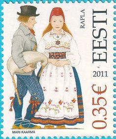 Harju County - Rapla,  Estonian folk costumes by Mari Kaarma, stamp from Estonia,2011
