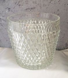 $35 - Vintage CRYSTAL ICE BUCKET Diamond Cut, Mid Century Cut Glass Champagne Ice Bucket Diamond Pattern, Classic Vintage Retro Crystal Barware . . . By CoolOldStuffForSale . . . Fabulous sparkly vintage cut glass champagne ice bucket with deep diamonds and brilliant light refraction!