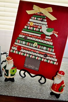 DIY Christmas Tree to frame - make it out of wrapping paper and decorate with a few buttons