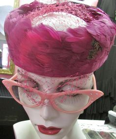 Vintage 1960's Feather Hat Magenta Crown with Netting ~ Cocktail Hat Ladies Suit Hat